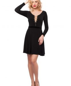 Rochie eleganta neagra cu lantisor auriu 9414 - ROCHII DE SEARA SI OCAZIE - OCAZIE