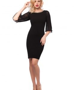 Rochie eleganta neagra cu maneci din voal plisat 9382 - ROCHII DE SEARA SI OCAZIE - OCAZIE