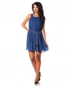 Rochie eleganta voal plisat albastru 9375-2 - ROCHII DE SEARA SI OCAZIE - OCAZIE
