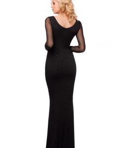 Rochie neagra lunga cu brosa 9412 - ROCHII DE SEARA SI OCAZIE - OCAZIE