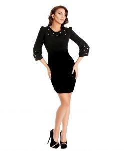 Rochie neagra perle aplicate 9338-1 - ROCHII DE ZI - Pentru fiecare zi