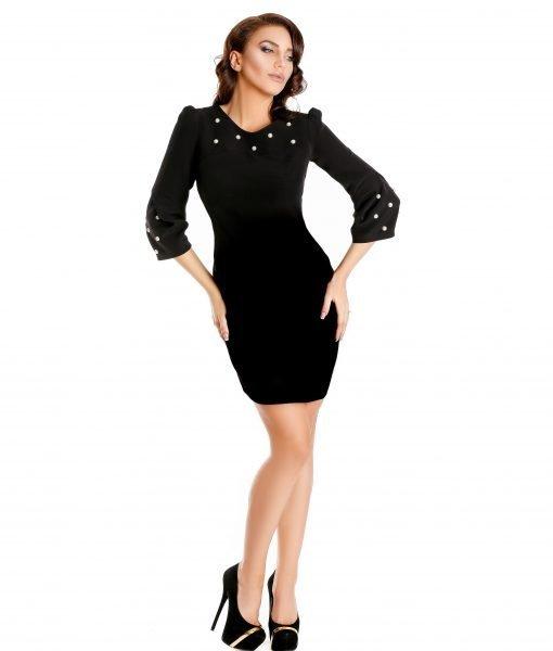 Rochie neagra perle aplicate 9338-1 – ROCHII DE ZI – Pentru fiecare zi