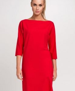 Rose Red shift dress with hemline patch - Dresses -