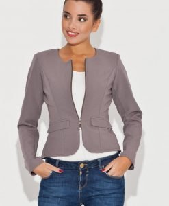Round Neck Grey Blazer with Semi Zipper Fastening - Outerwear > Jackets and coats -