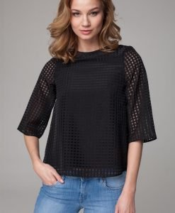 Sheer black bouncy blouse with high neckline - Blouses -