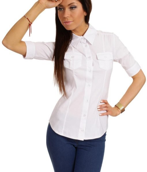 Slim Fit Seam Collared White Shirt with Flap Chest Pocket – Shirts > Shirts Short Sleeve –