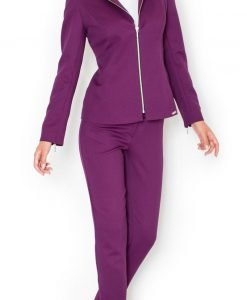 Straight Cut Elegant Purple Blazer with Zipper Cuffs - Outerwear > Blazers -