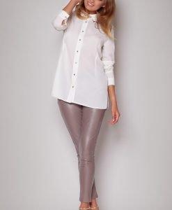 Straight Cut Work Ecru Shirt with Side Slits - Blouses -