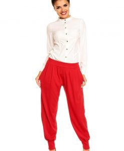 Stretchable Waist Pleated Aladin Red Pants - Trousers -