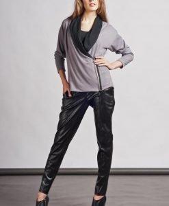 Stylish Grey Sweater with Asymmetrical Zipper Closure - Sweaters -