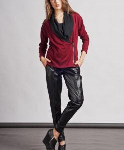 Stylish Red Sweater with Asymmetrical Zipper Closure - Sweaters -