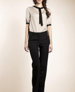 Tailored Straight Cut Black Pants with Button Fastening - Trousers -