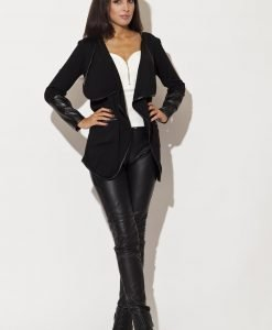 Trimmed Waterfall Black Jacket with Fitted Leather Cuffs - Sweaters -