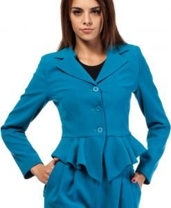 Turquoise Peacock Collar Breasted Blazer with Peplum Hem - Outerwear > Blazers -