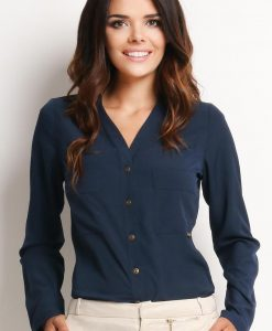 V-Neckline Button-Down Navy Blue Shirt - Shirts > Shirts Long Sleeve -