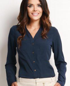 V-Neckline Button-Down Navy Blue Shirt - Shirts > Shirts Long Sleeve -