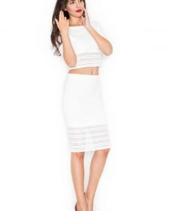 White 2 piece dress with 3/4 sleeves - Skirts -