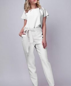 White Jumpsuit With Checkered Waist Belt - Trousers -