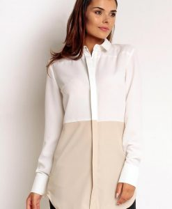White-cream Tone Smarty Boyfriend Shirt in Long Shirttail Hem - Shirts -