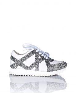 Adidasi de piele decorati cu gliter Alb/Argintiu - Incaltaminte - Incaltaminte / Pantofi sport