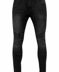 Blugi Slim Fit Biker negru-washed Urban Classics - Barbati - Urban Classics>Colectie noua>Barbati