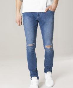 Blugi urban Slim Fit cu taieturi la genunchi albastru-washed Urban Classics - Pantaloni urban - Urban Classics>Barbati>Pantaloni urban