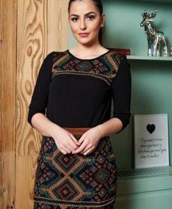 Bluza Dama Neagra StarShinerS Accesorizata Cu Lantisor - Bluze -