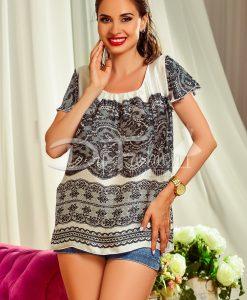 Bluza Vaporoasa cu Imprimeu Negru - Haine - Bluze/Camasi