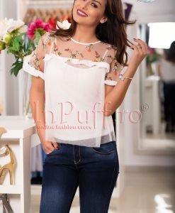 Bluza alba cu broderie florala si volanase - BLUZE -