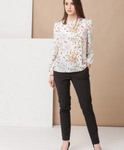 Bluza alba cu imprimeu floral B007 - Bluze si topuri -