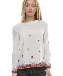 Bluza alba cu imprimeu floral B102 - Bluze si topuri -