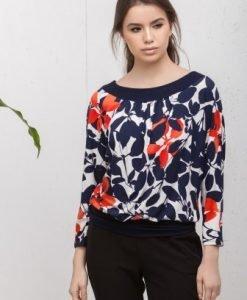 Bluza alba cu imprimeu floral CI200 - Bluze si topuri -