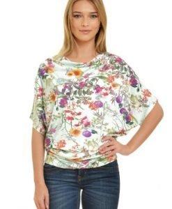 Bluza alba cu imprimeu floral multicolor VE147 - Bluze si topuri -