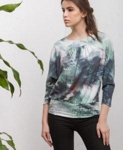Bluza alba cu imprimeu si cu maneca trei sferturi CI196 - Bluze si topuri -