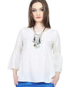 Bluza alba cu maneca evazata D2521-A - Bluze si topuri -