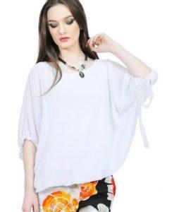 Bluza alba cu maneca tip fluture D2545 - Bluze si topuri -