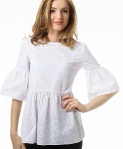 Bluza alba cu maneca trei sferturi evazata 1038-A - Bluze si topuri -