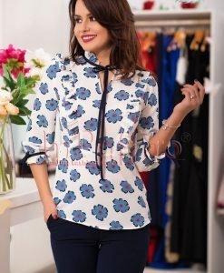 Bluza alba dama cu floricele bleu - BLUZE -