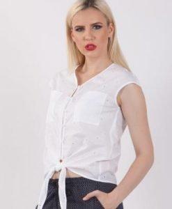 Bluza alba din bumbac D2140 - Bluze si topuri -