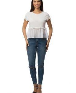 Bluza alba din bumbac cu ciucurasi CSF-112 - Bluze si topuri -