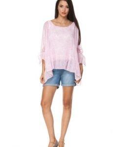 Bluza alba din bumbac cu imprimeu roz D2344 - Bluze si topuri -
