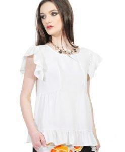 Bluza alba din vascoza D2520-A - Bluze si topuri -