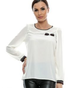 Bluza alba din vascoza cu fundita B63 - Bluze si topuri -