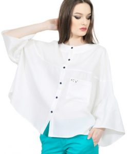 Bluza alba larga din bumbac D2530 - Bluze si topuri -