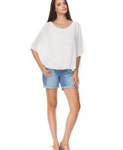 Bluza alba stil fluture din voal D2128A - Bluze si topuri -