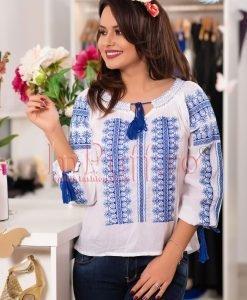 Bluza alba tip ie cu broderie bleu si bleumarin - II TRADITIONALE -