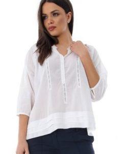 Bluza alba tip ie din bumbac cu broderie BR1236 - Bluze si topuri -