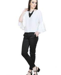 Bluza alba vaporoasa cu volane D2511-A - Bluze si topuri -