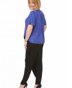 Bluza albastra cu decolteu asimetric B094-A - Bluze si topuri -