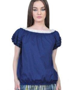 Bluza albastra cu volane D2351A-A - Bluze si topuri -